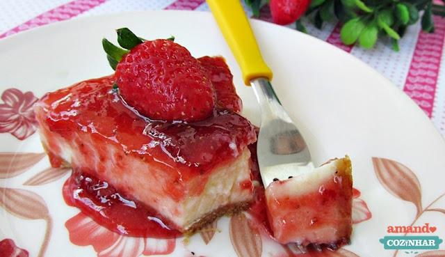 receita Cheesecake de morango com geleia caseira