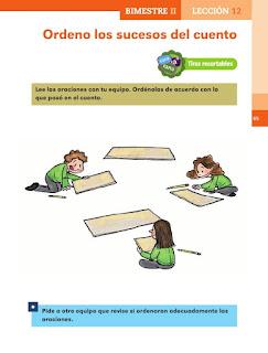 Apoyo Primaria Español 1er grado Bimestre 2 lección 12 Ordeno los sucesos del cuento