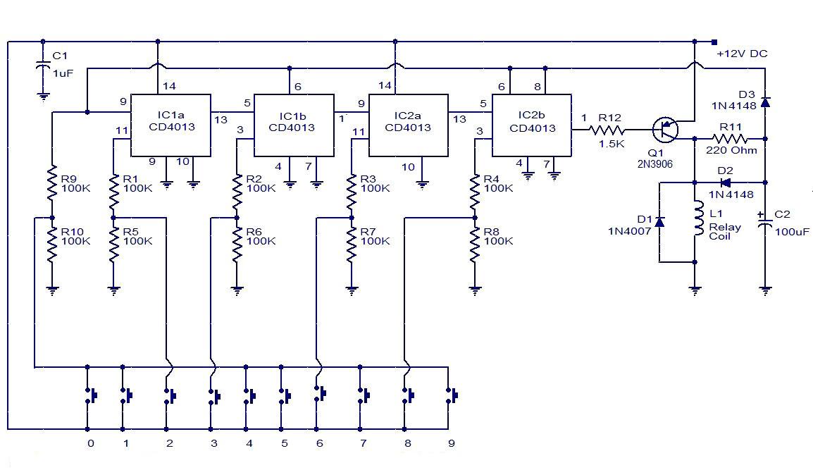 digital combination lock using cd4013 simple electronic circuit diagram. Black Bedroom Furniture Sets. Home Design Ideas