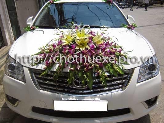Cho thuê xe cưới màu trắng Camry giá rẻ tại Hà Nội