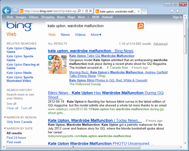 Bing Results: kate upton wardrobe malfunction