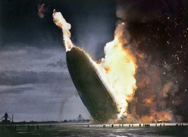 Hindenburg blimp crash.  May 6, 1937.