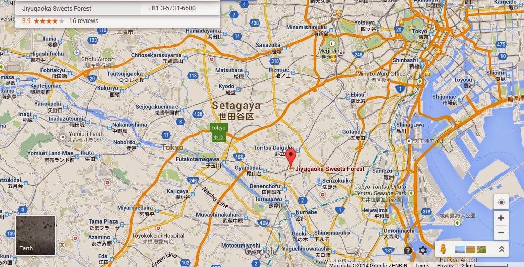 Jiyugaoka Sweets Forest Tokyo Location Map