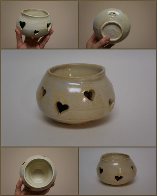 Double-walled ceramic stoneware vase with heart pattern, by Lily L.