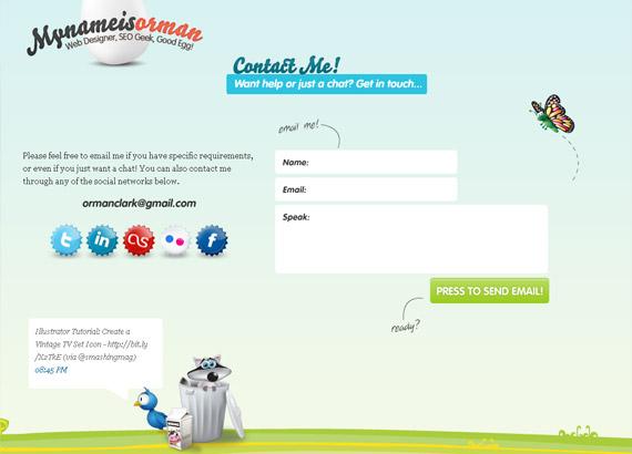 Inspiração página de contatos