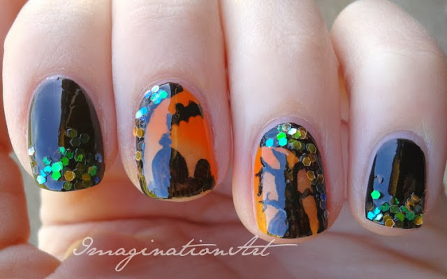 nail art halloween pipistrello bat