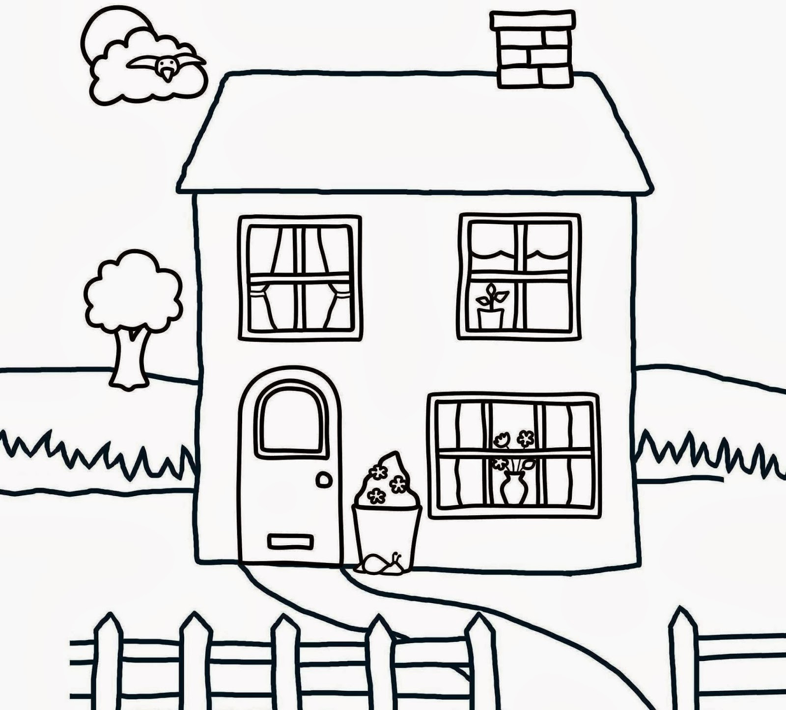 Small House For Kid Coloring Drawing Free Wallpaper