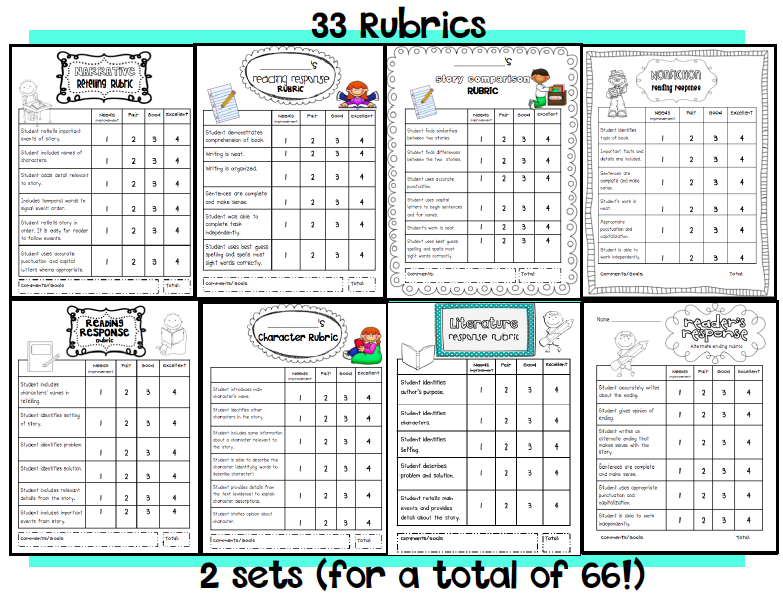 Reading Response Rubrics and Prompts Pack (freebie too)