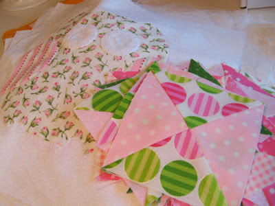 Hooterville quilt made using pink and green fabrics by Lakehouse Dry Goods