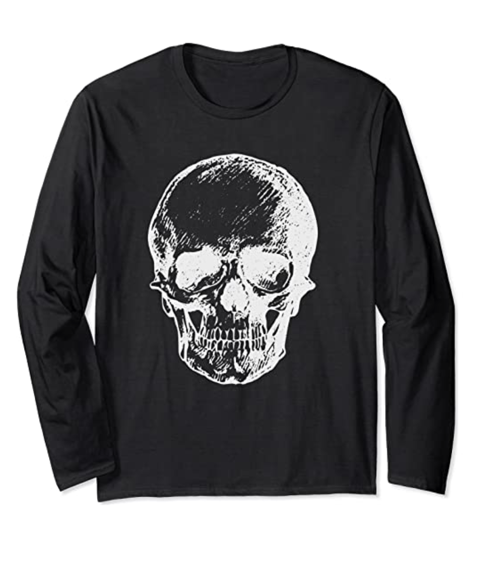 Goth Punk Vintage SKULL Zombies Undead Illustrated Horror Long Sleeve T-Shirt