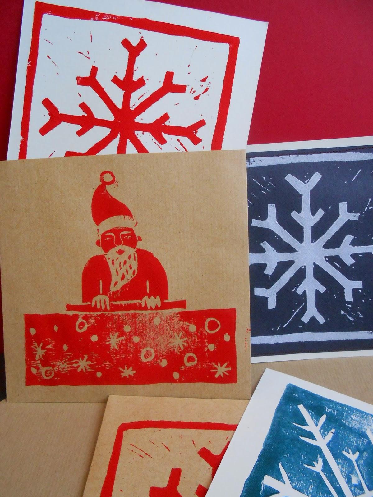 carte de voeux linogravure Noël