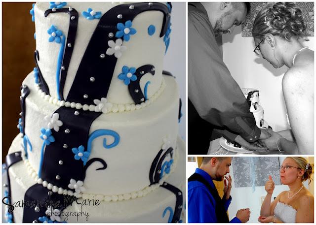 cutting the modern designed cake