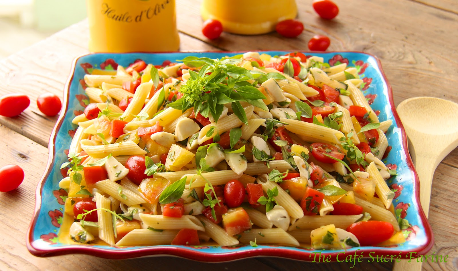 Penne Pasta Salad w/ Fresh Mozzarella and Heirloom ...
