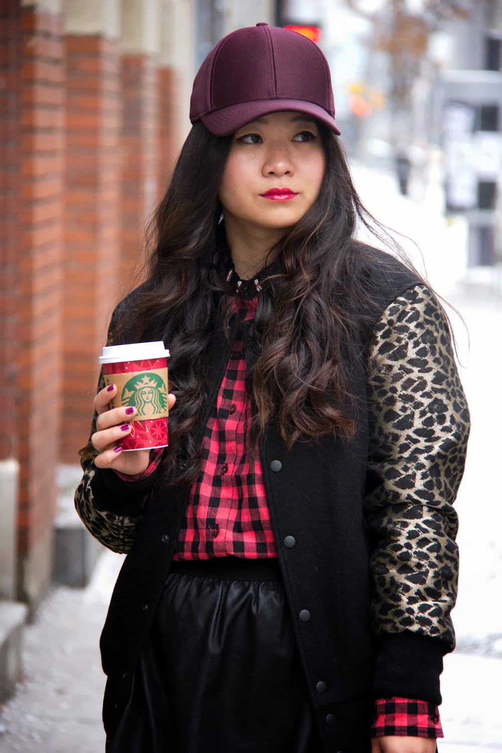 Burgundy-Baseball-Hat, Aritzia-Varsity-Jacket, Street-Style, Fashion-Blogger