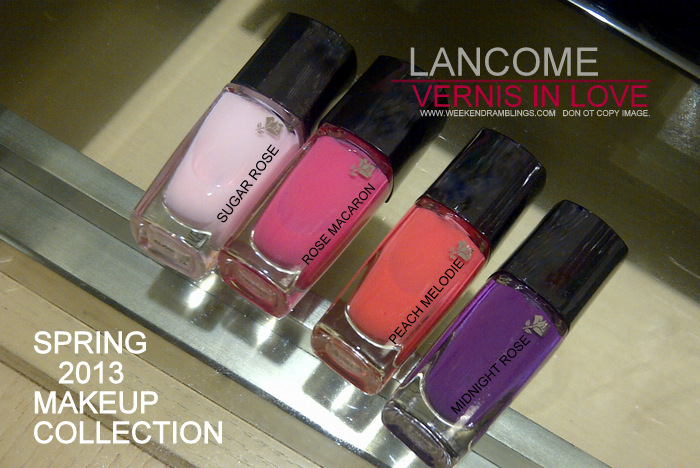 Lancome in Love Spring 2013 Makeup Collection Vernis Nail Polish Indian Beauty Blog Swatches Sugar Rose Midnight Rose Peach Melodie Rose Macaron