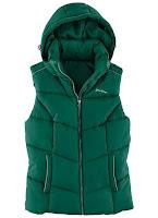 Colete Acolchoado Verde feminino com capuz