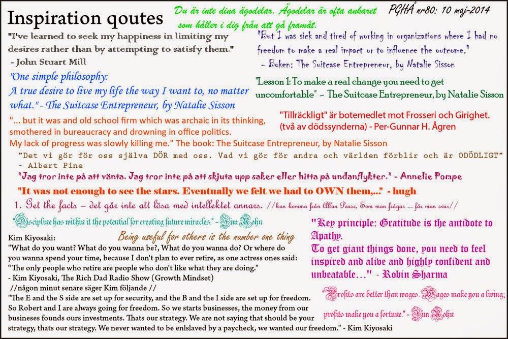 Inspiration, från bla Natalie Sisson, Kim Kiyosaki, Annelie Pompe, Robin Sharma, Jim Rohn, hugh mfl.