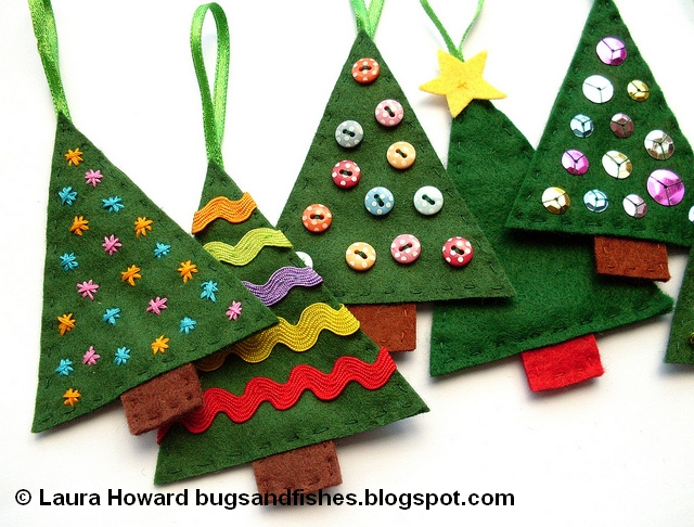 Bugs and Fishes by Lupin: How To: Sew Easy Felt Christmas Tree Ornaments
