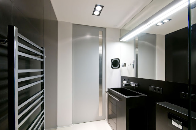 Modern Backlit Mirror and Single Sink Vanity