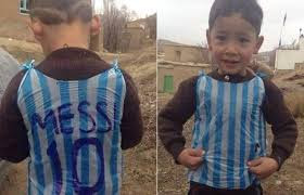 The poor kid, who was seen playing football wearing a plastic bag jersey, has been identified as Murtaza Ahmadi, 5, from Ghazni near Kabul.  Son of a poor farmer, Murtaza is a huge Messi fan.