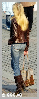 girl in brown leather jacket on high heels
