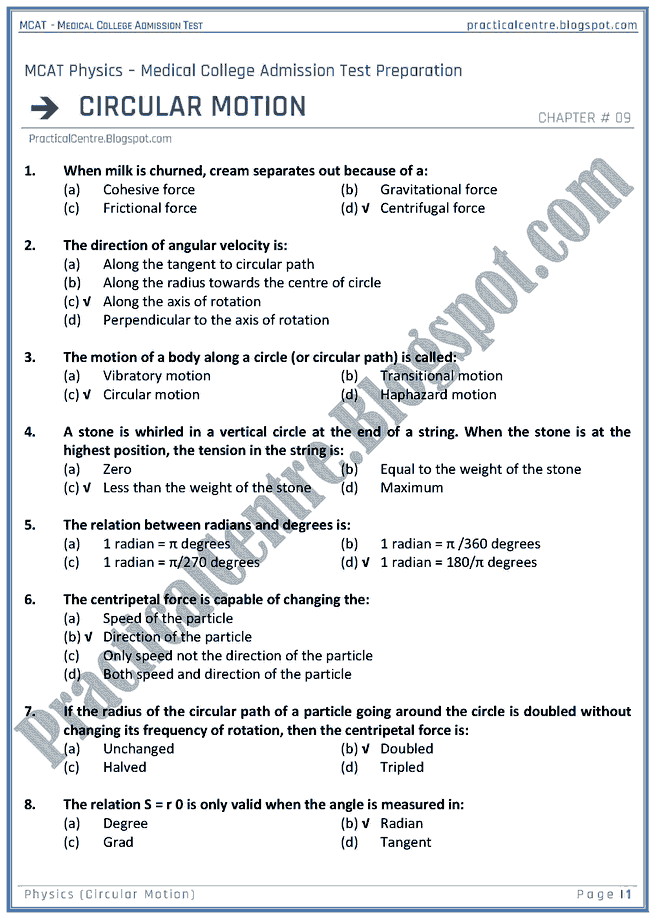 mcat-physics-circular-motion-mcqs-for-medical-college-admission-test