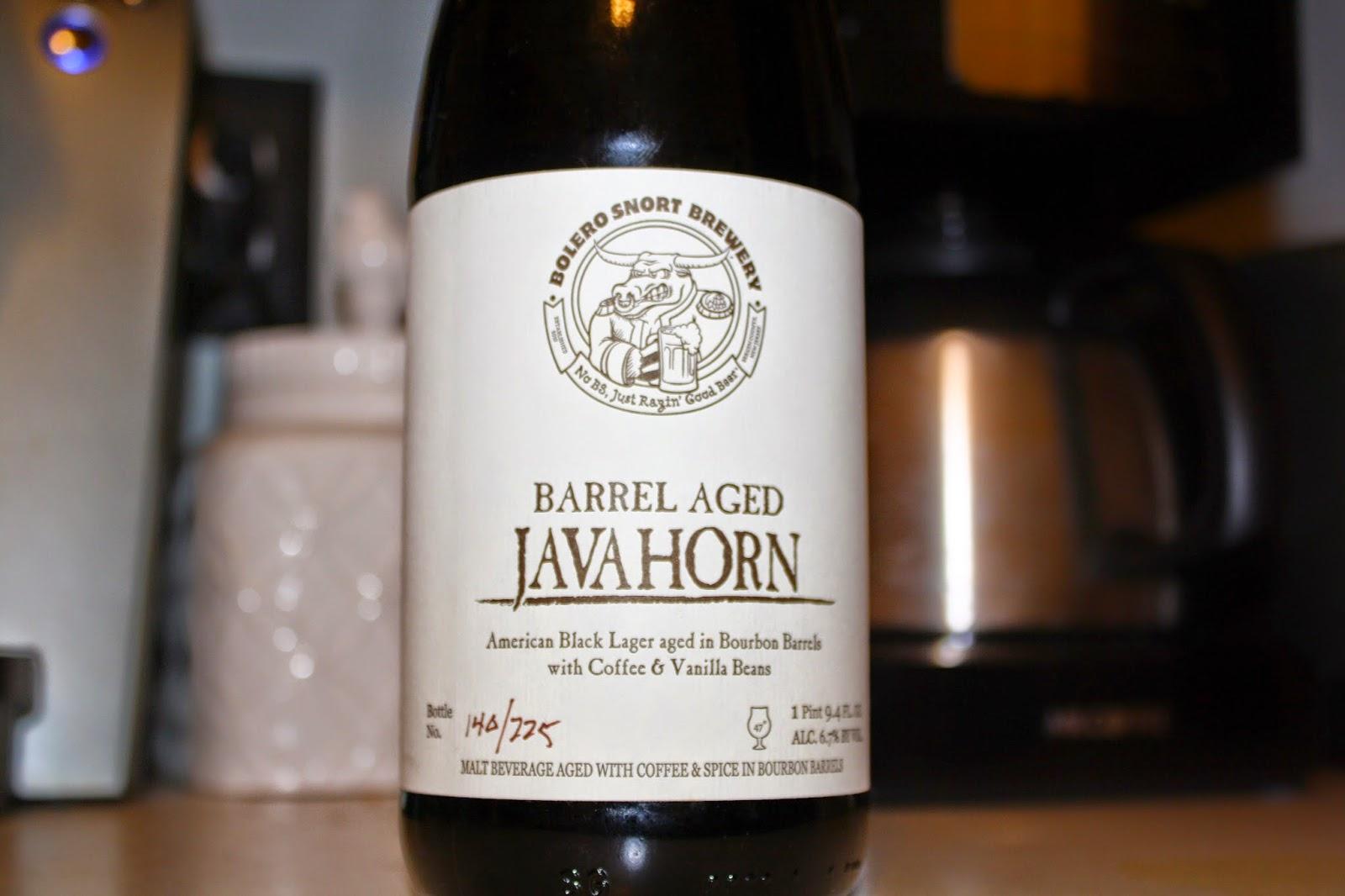 Bolero Snort Brewery, Barrel Aged Javahorn, Beer, New Jersey