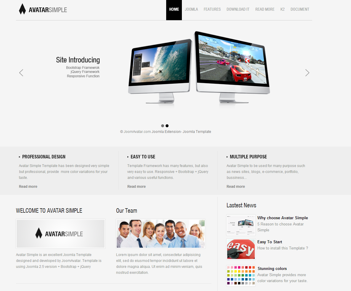 Avatar Simple Free Joomla Template