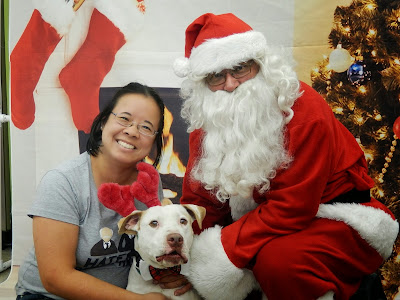 Image of Te-Ling smiling with her dog Lady and Santa Claus