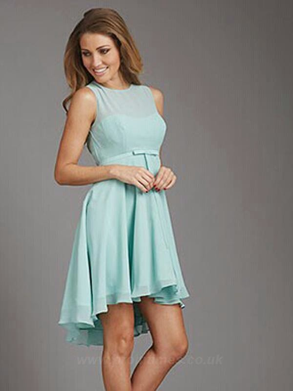 Scoop Neck Mint Bridesmaids Dress