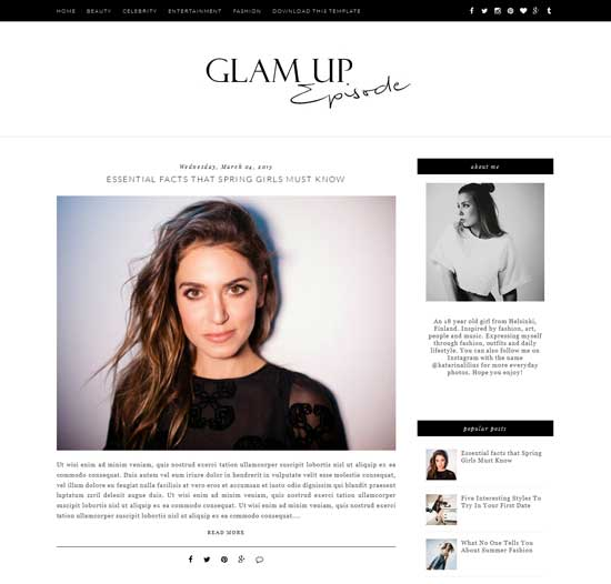 Glam Up Free Blogger Theme ( Best Simple Blogger Templates)