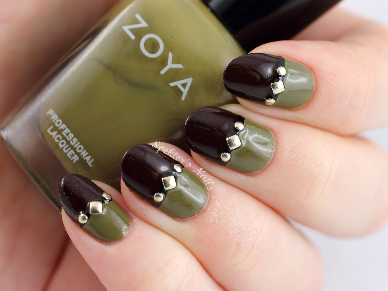 Two Tone Studded Nails By Spektors Nails