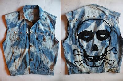 diy czaszka rock kamizelka moda punk ombre