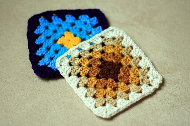 Crochet granny square coasters