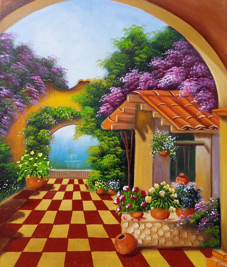 Pinturas cuadros lienzos pintores de paisajes for Pintura moderna de la casa