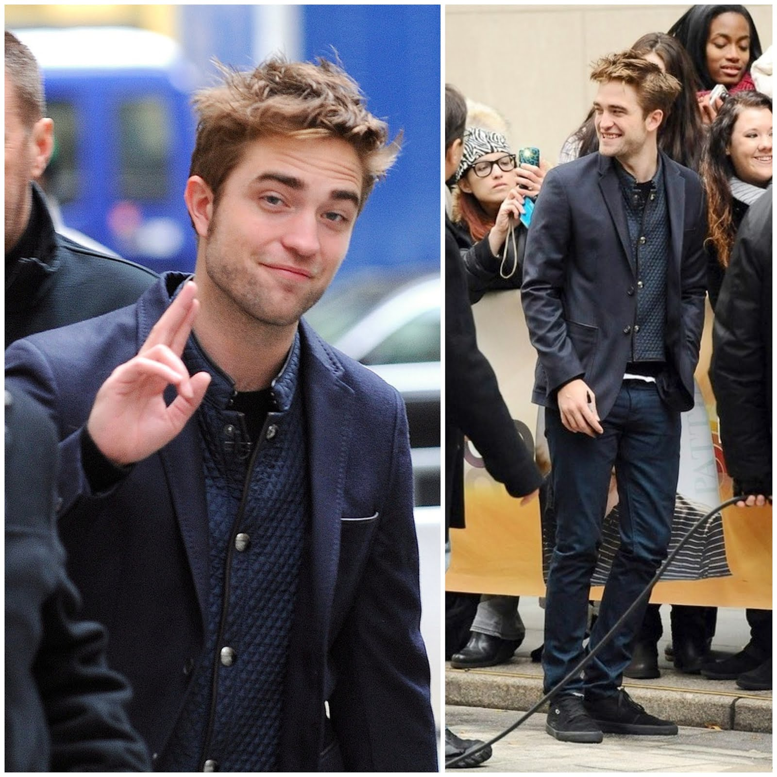 00O00 London Menswear Blog Celebrity Style Robert Pattinson steps out to greet fans before his NBC Today Show interview in Rockefeller Center Burberry London Jacket