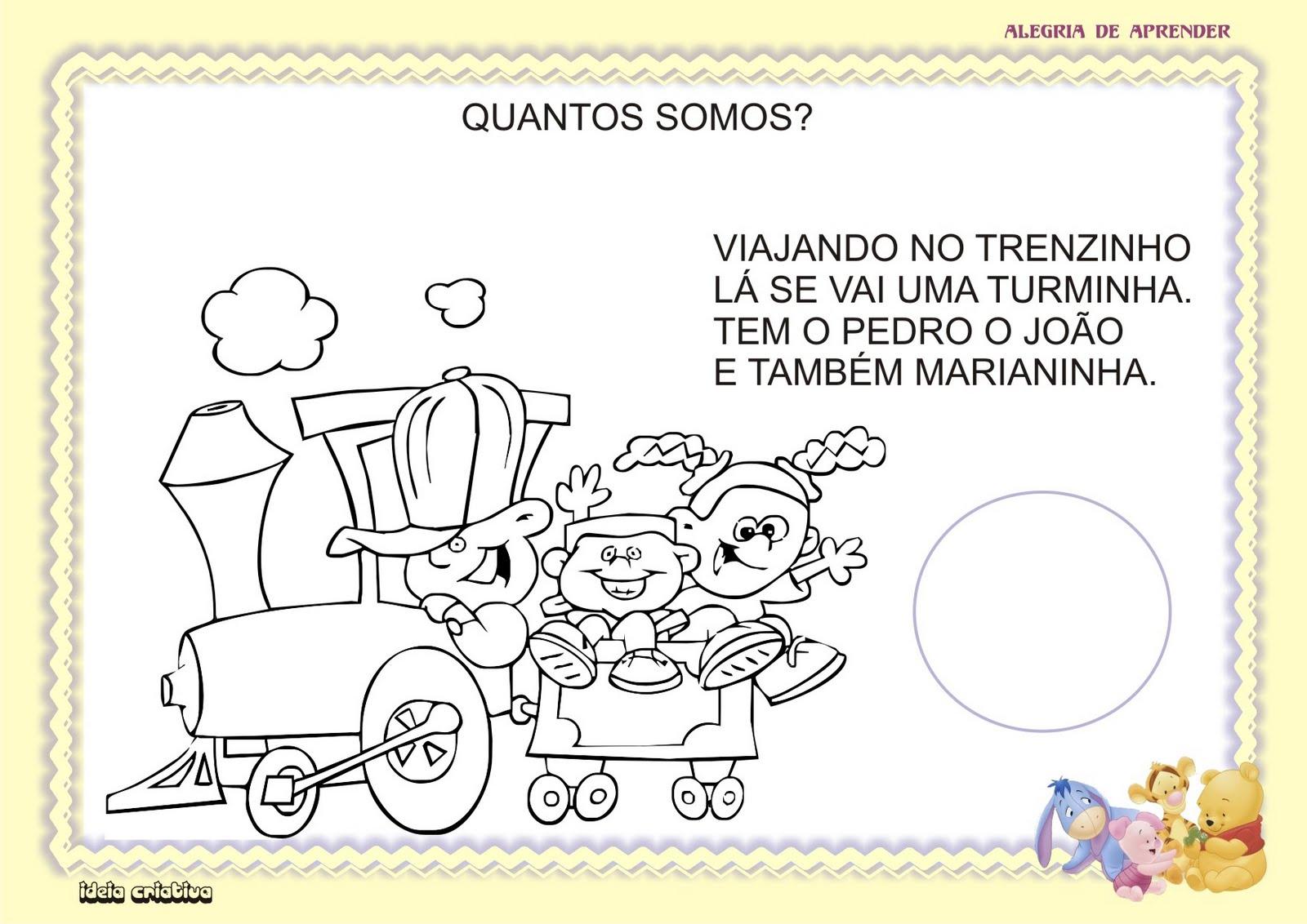 Atividade Maternal Texto em Verso Número e Quantidade Meio de Transporte