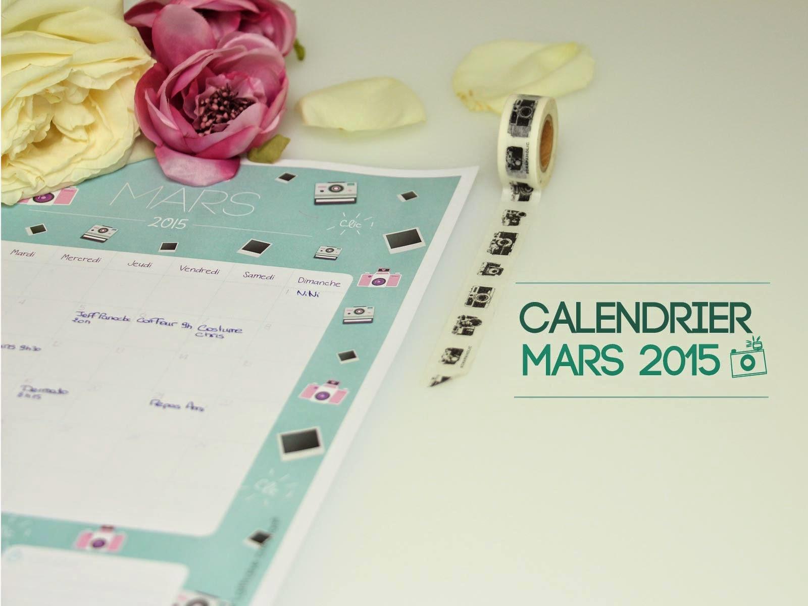 calendrier mars 2015 gratuit