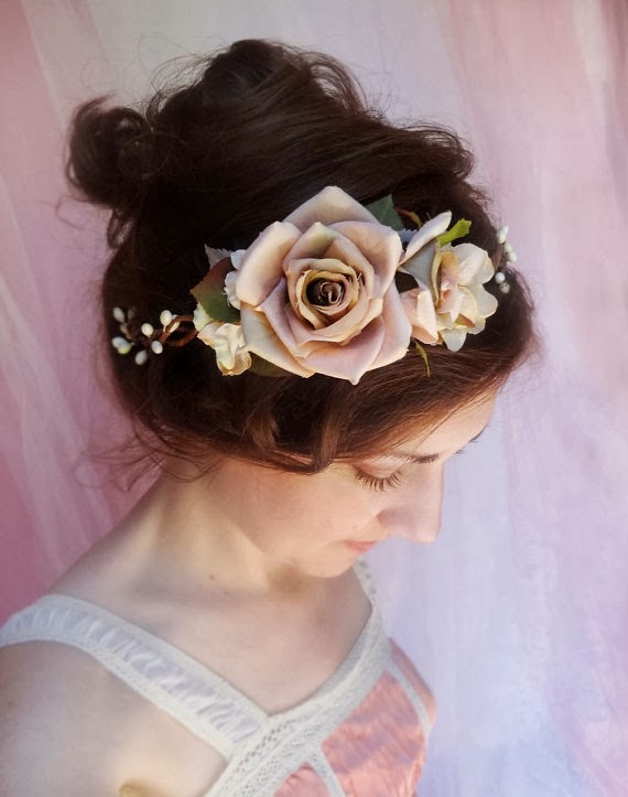 mauve floral bridal headpiece