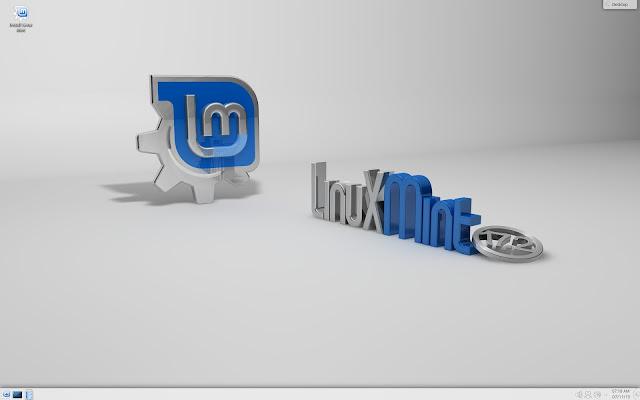 Área de trabalho do Linux Mint 17.2 ''Rafaela'' KDE Edition