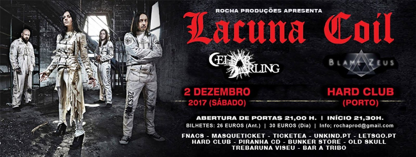 Lacuna Coil + Cellar Darling + Blame Zeus @ Hard Club