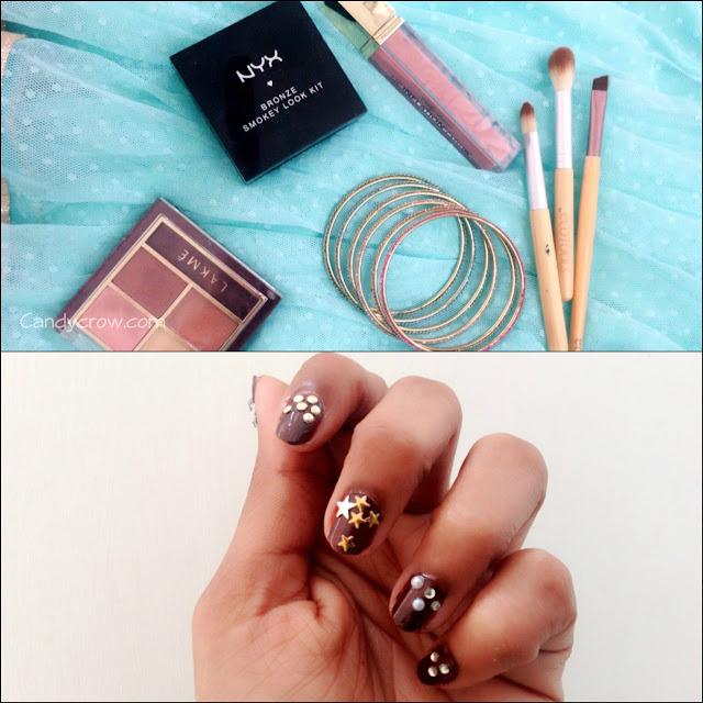 Indian Party Outfit and Makeup, nail art, eyemakeup