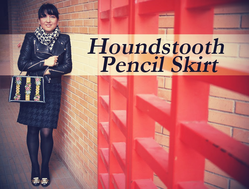 Houndstooth+Pencil+Skirt
