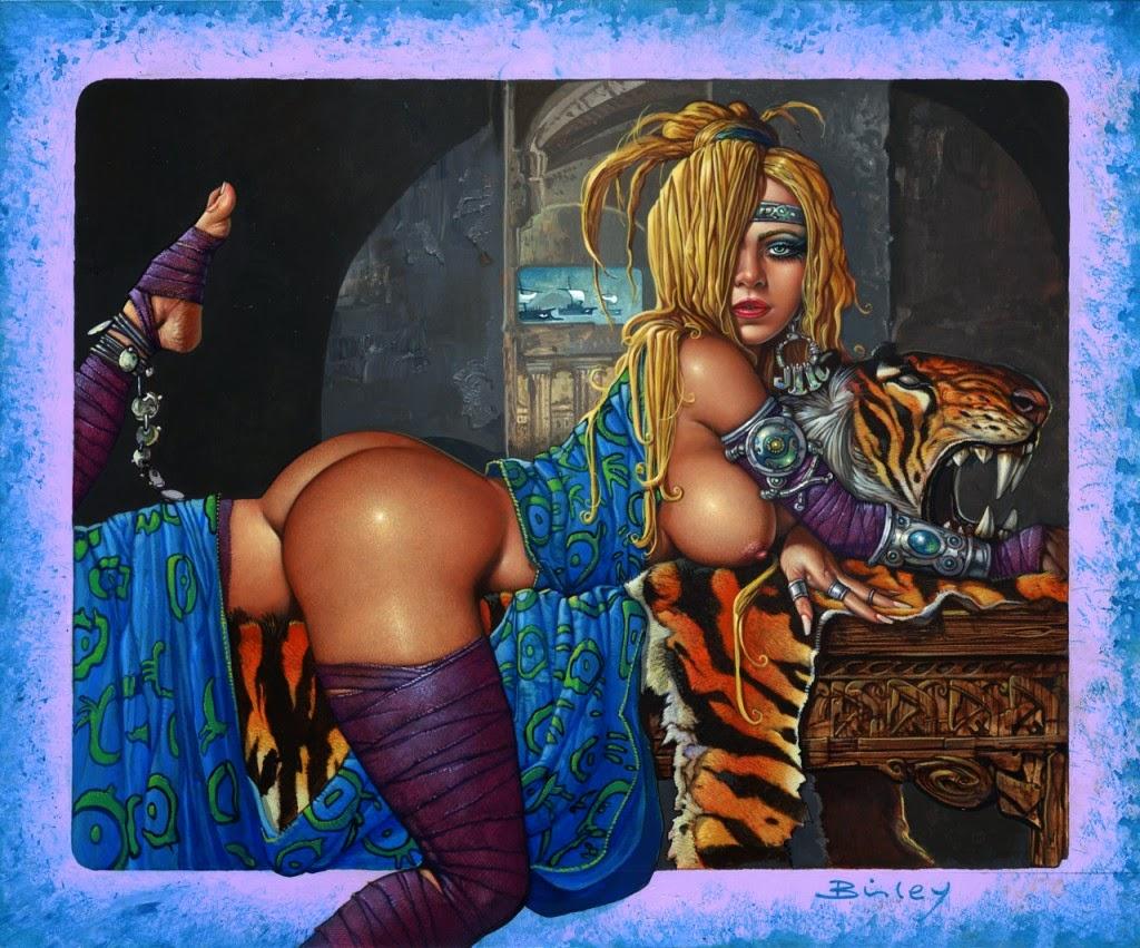Dessin de Simon Bisley représentant une Hélène de Troie alanguie très sexy