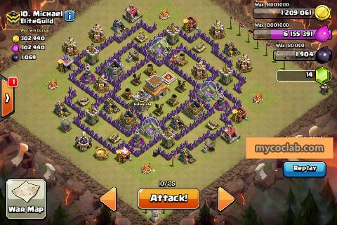 Th8 war base layout best of the week mycoclab clash of clans