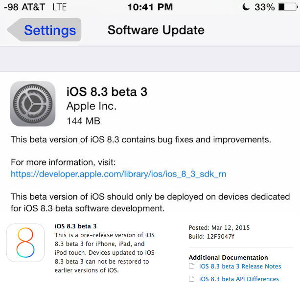 iOS 8.3 Beta 3 Firmware (12F5047f)