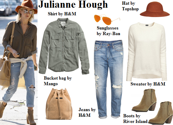 julianne hough, casual, hat, boyfriend jeans, boots, fall