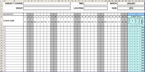 Monthly Attendance Sheet Template Pictures to Pin – Daily Attendance Sheet Template