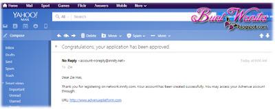 Email dari innity. Permohonan iklan innity lulus dalam masa satu hari bekerja.