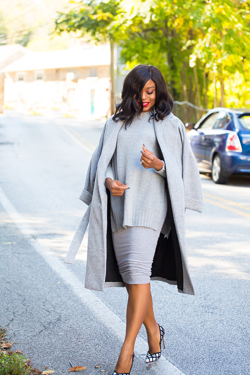 Gray pencil skirt, Gianvito rossi pumps, Missguided midi skirt, www.jadore-fashion.com
